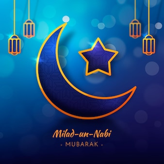Milad-un-nabi greeting card moon and star