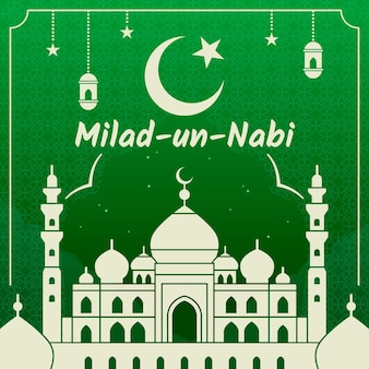 Milad-un-nabi greeting card white mosque