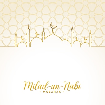 Milad un nabi islamic festival white and golden card