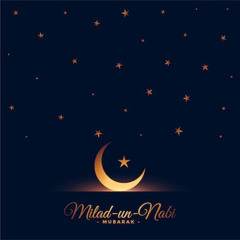 Milad un nabi moon and stars lovely greeting card