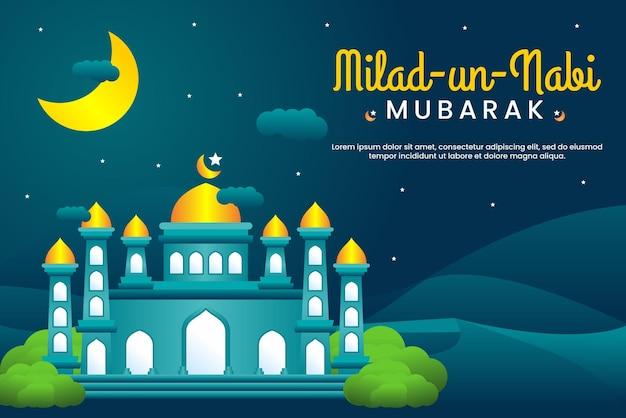 Баннер фестиваля милад ун наби мубарак с мечетью и фоном луны