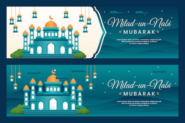 Баннер фестиваля милад ун наби мубарак с фоном мечети