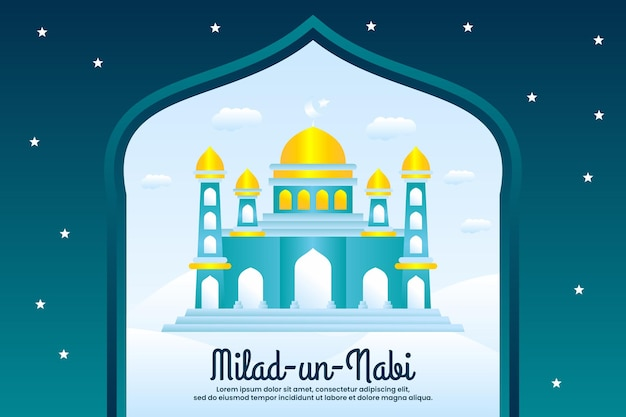Приветствие фестиваля милад ун наби мубарак на фоне мечети
