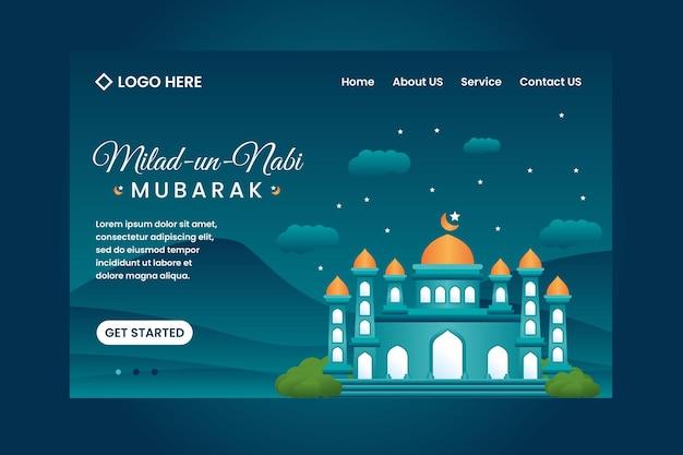 Шаблон целевой страницы фестиваля милад ун наби мубарак с фоном мечети