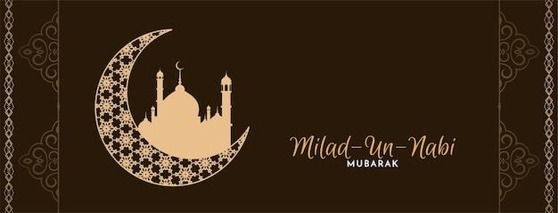 Bandiera religiosa della falce di luna di milad un nabi mubarak