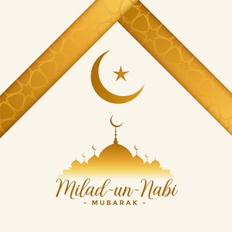 Milad un nabi white and golden greeting card design