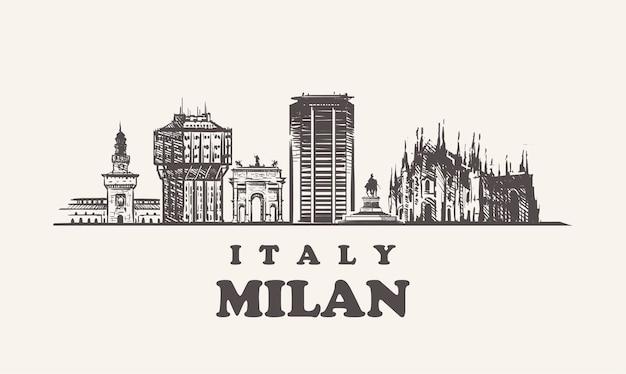 Городской пейзаж милана, италия