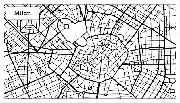黒と白の色のミラノイタリア市内地図。手で書いた。白地図。