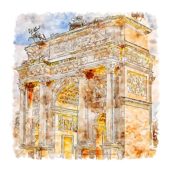 Milan italy watercolor hand drawn illustration