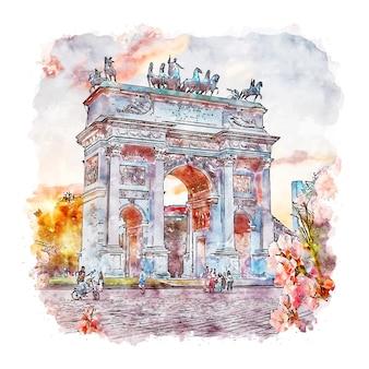 Милан италия акварельный эскиз рисованной иллюстрации