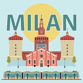 Milan landmarks illustration