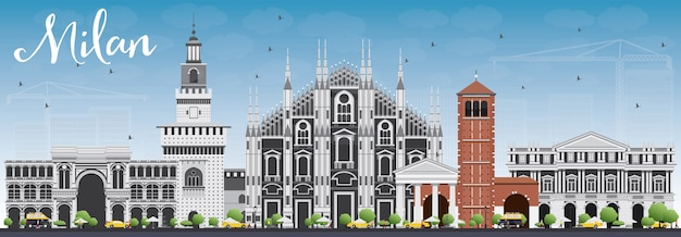 Milan skyline with gray landmarks and blue sky. travel and tourism concept
