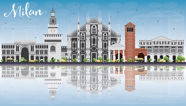 역사적인 건물 밀라노 스카이 라인