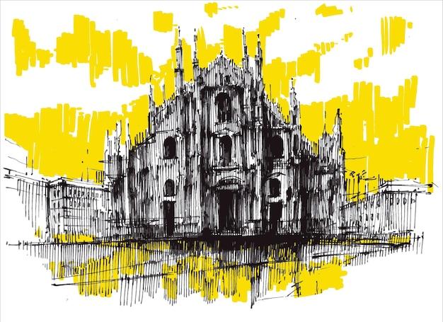 ミラノドゥオーモ大聖堂手描き。