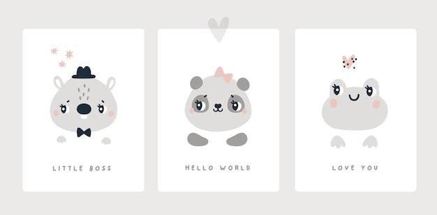 生まれたばかりの男の子または女の子のベビーシャワーの動物のためのマイルストーンカードはビーバーパンダのカエルを印刷します