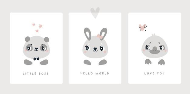 生まれたばかりの男の子または女の子のベビーシャワーの動物のためのマイルストーンカードは、バニーパンダカモノハシを印刷します