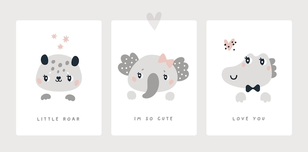 生まれたばかりの男の子または女の子のベビーシャワーの動物のためのマイルストーンカードは、ヒョウ象のワニを印刷します