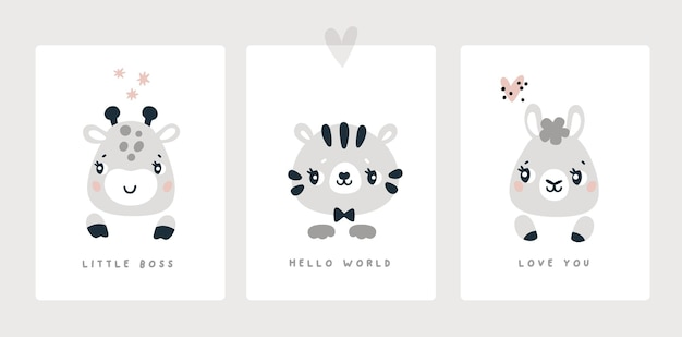Вехная карта для новорожденного мальчика или девочки, детский душ, принт животных, зебра, тигр, лама