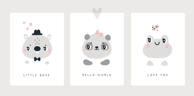 Milestone card for newborn boy or girl baby shower animals print beaver panda frog