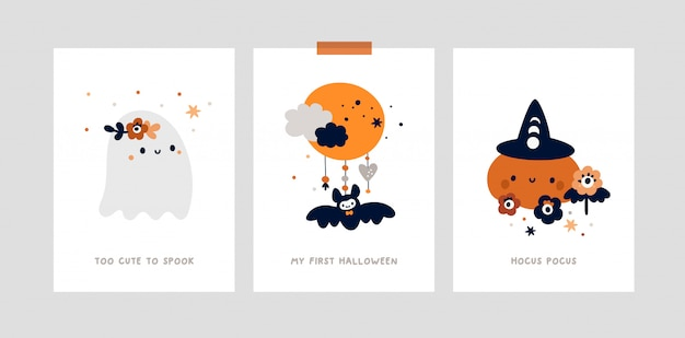 Набор карт вехи для детей хэллоуин. детский принт с маленьким милым привидением, тыква