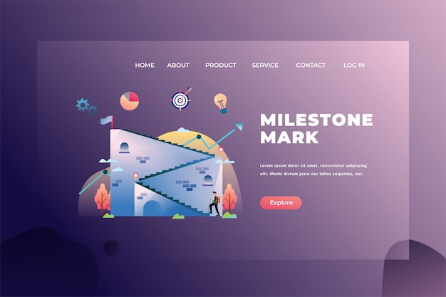 Milestone mark for big project management  web page header landing page template illustration