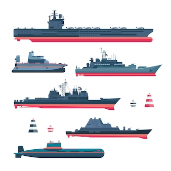 Militaristic ships set. navy ammunition, warship and submarine, nuclear battleship, float and cruiser, trawler and gunboat, frigate and ferry