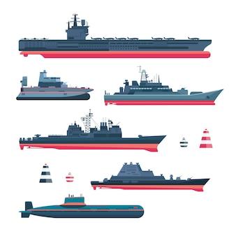 Set di navi militariste. munizioni della marina, nave da guerra e sottomarino, corazzata nucleare, galleggiante e incrociatore, peschereccio e cannoniera, fregata e traghetto