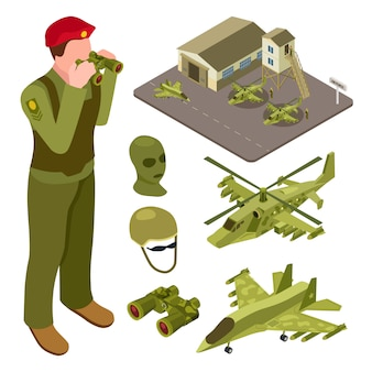 Military air force base isometric with helicopter, fighter aircraft, soldiers  illustration