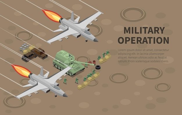 Military air forces airmen units armed equipped for special combat ground operations isometric illustration