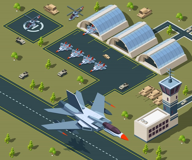 Military airport isometric. low poly isometric of usa aircraft