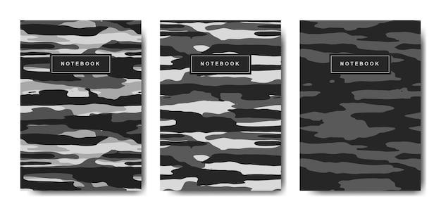 ミリタリーとアーミーのカモフラージュ抽象カバーノート