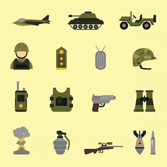フラットカラースタイルの軍事および武器のアイコン