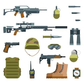 ミリタリーアーマーと武器銃のアイコンフラットセット。自動小銃と保護ゴーグル、イラスト手榴弾ヘルメットと狙撃兵器