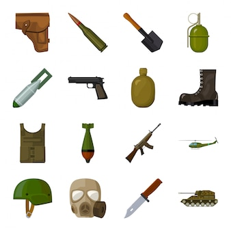 Military and army  cartoon set icon.  illustration weapon military  .isolated cartoon set icon war of army .