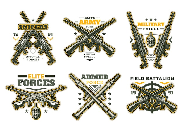 Military and army heraldry icons with isolated guns and weapon targets