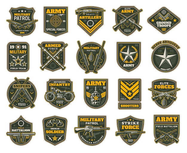 Military and army patches or chevrons for sniper, shooter, motorized infantry and elite forces Premium Vector