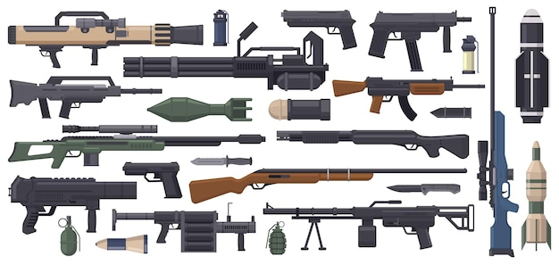 Military army weapons rocket grenade launcher machine gun and bazooka isolated vector set