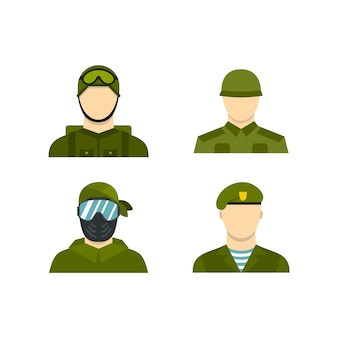 Military avatar icon set. flat set of military avatar vector icons collection isolated