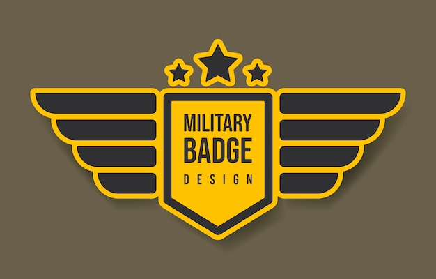 Military badge design with wings and stars. vector illustration. army and military design.