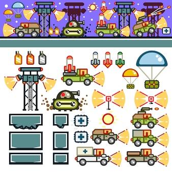 Военная база в ночное время плоский комплект игрового уровня