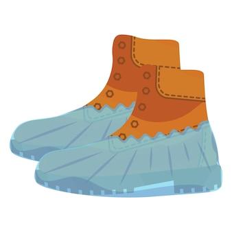 ポリエチレンで覆われたミリタリーブラウンのブーツ。青い靴カバー。保護医療カバー。リアルなスタイルのミリタリーブーツ。医療用個人用保護具。分離されたベクトル