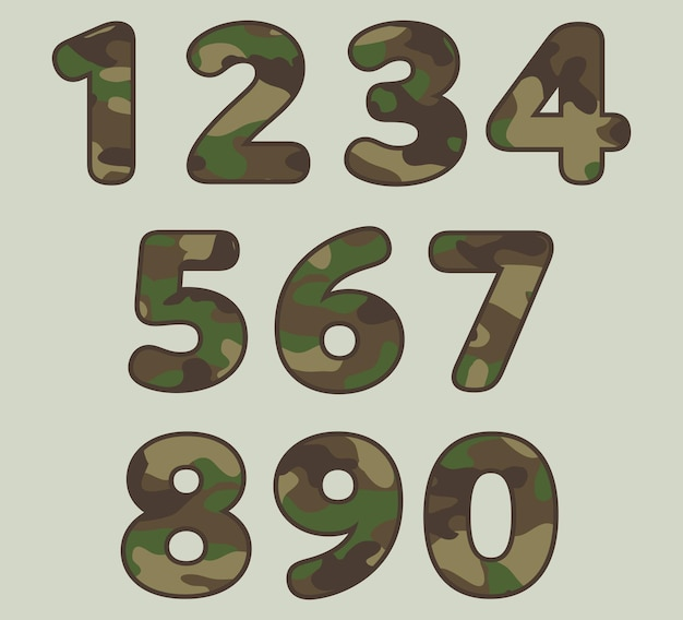 Military camouflage numbers set