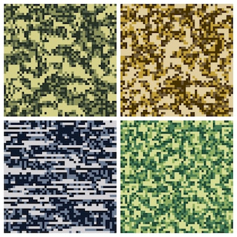Military camouflage pixel mosaic collection