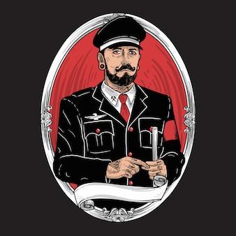 Military character bearded mustache tattoo illustration