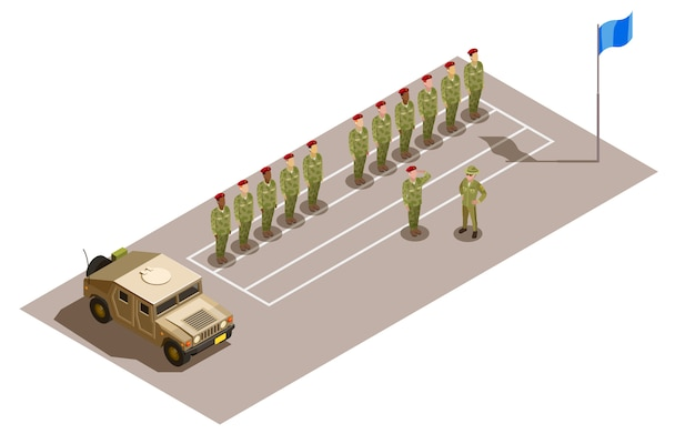 Military division service isometric composition