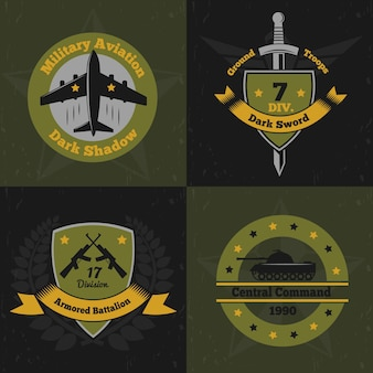 Military emblems color design concept with flat colourful emblems of war service insignia with weapons