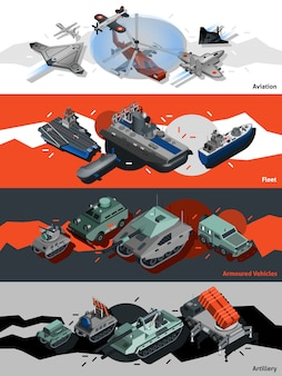 Military equipment banners isometric