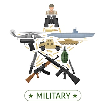 Military equipment design in star shape with combat vehicles weapons ammunition