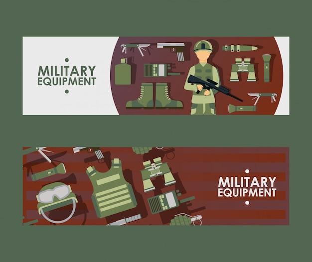 軍事機器のチラシまたはバナーセット