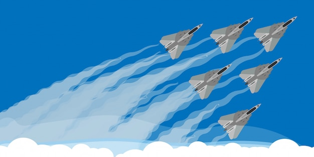 Military fighter jet with sky smoke trail background illustration . air show plane fly acrobatic performance. speed army team demonstration skill force